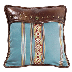 "Square blue striped pillow with studs, 18""X18"""