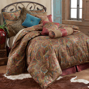 San Angelo Comforter Set, Full Red Bedskirt