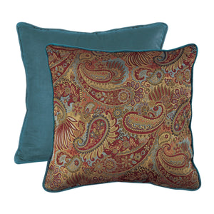"Paisley Euro Sham with Contrasting Teal Piping and Back, 27""X27"""