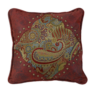 "Paisley Print Pillow with Red Faux Leather Corners and, 18""X18"""