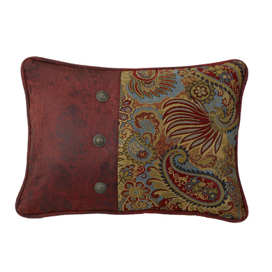 Paisley Print Pillow with Red Faux Leather Side and Con, 16