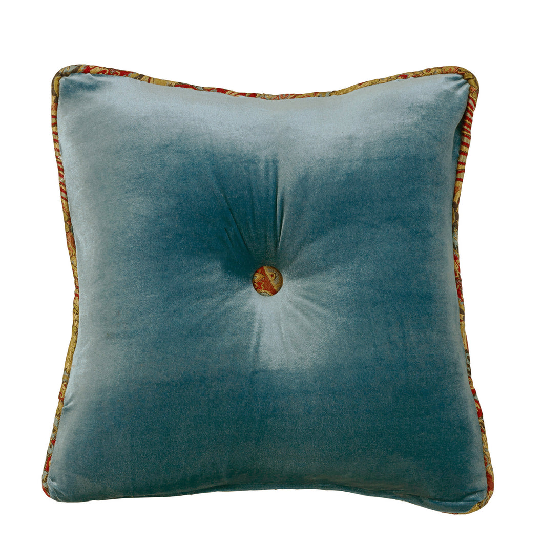 Teal Velvet Tufted Pillow with Contrasting Paisley Butt, 18