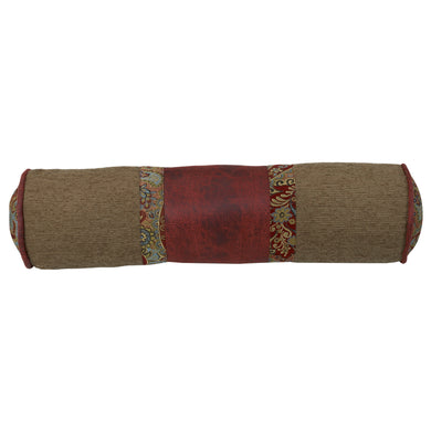 Neckroll featuring Tan, Red Faux Leather, and Paisley, 7