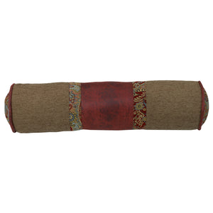 "Neckroll featuring Tan, Red Faux Leather, and Paisley, 7""X26"""