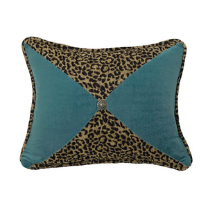 "Leopard and Teal Sectioned Pillow with Conch Detail, 16""X21"""