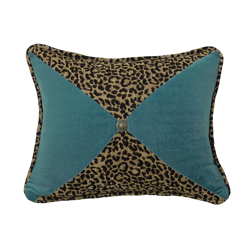 Leopard and Teal Sectioned Pillow with Conch Detail, 16