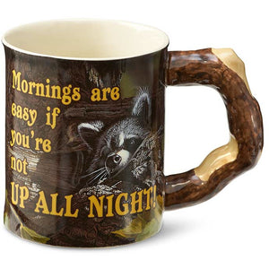Up All Night – Raccoon Sculpted Coffee Mug
