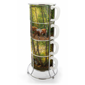 Shade Creek Horses Chris Cummings Stacking Set/4 Mugs and Tower