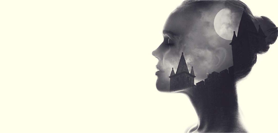 Woman's head edited with a castle scene