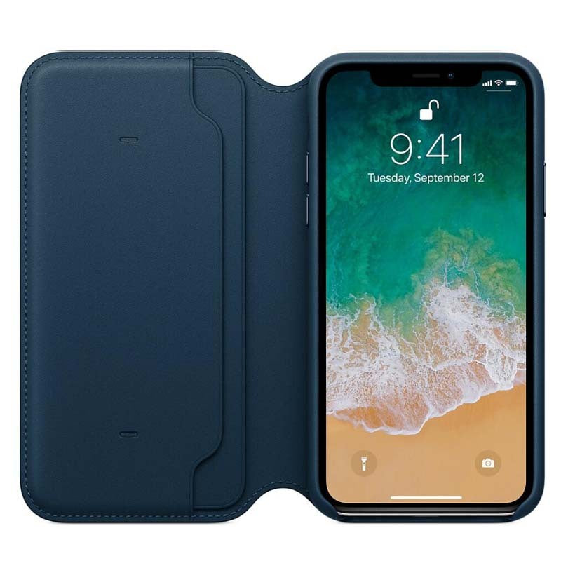 newest ad0ce deb0b Midnight Blue iPhone X Flip Leather Case