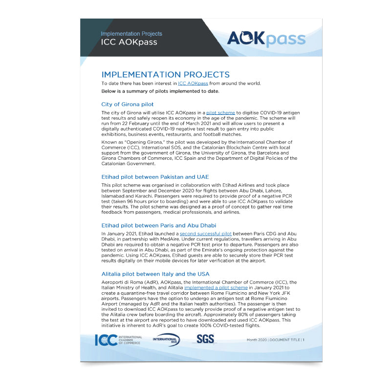 ICC AOKpass - Implementation Projects