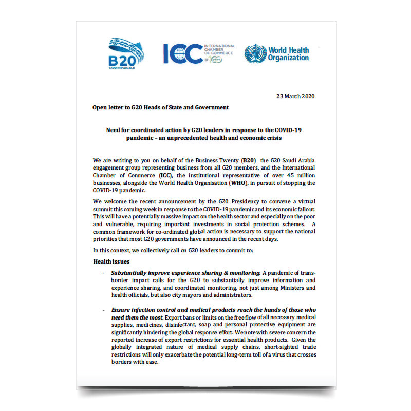 ICC-B20-WHO Open Letter to Heads of State and Government