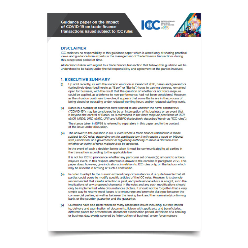 ICC Guidance paper on the impact of COVID-19 on trade finance transactions