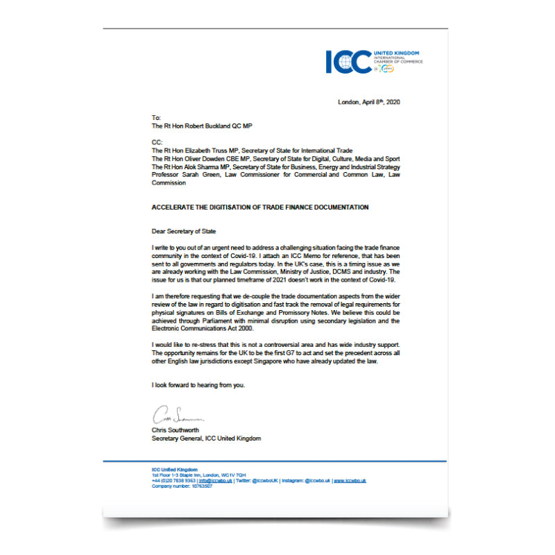 ICC Letter to Secretary of State for Justice – Accelerate the Digitisation of Trade Finance Documentation