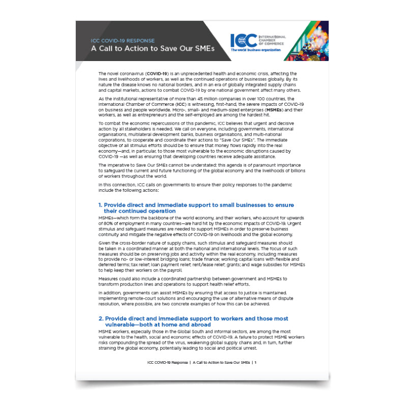 ICC Call to Action - Save our SMEs