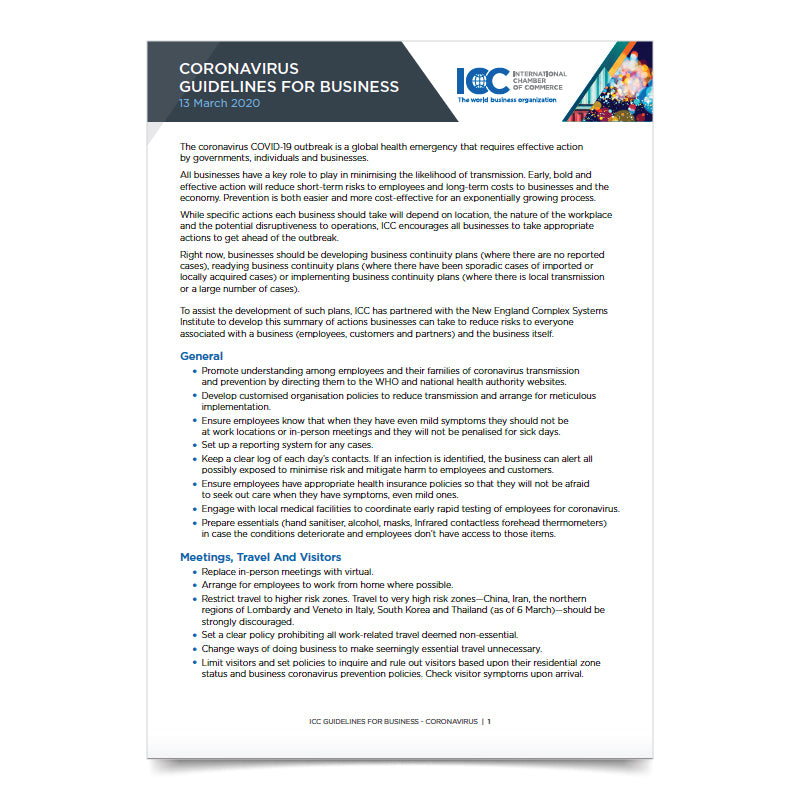 ICC Coronavirus Guidelines for Business