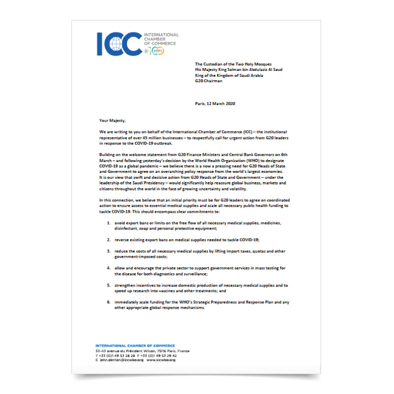 ICC-G20 Statement on Coronavirus