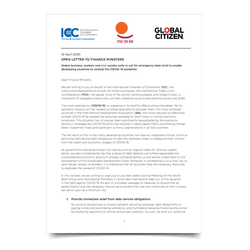 ICC-ITUC Global Citizen Letter to Finance Ministers - Call for Debt Relief for Developing Countries