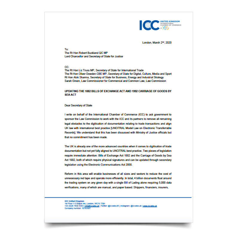 ICC Letter to Secretary of State for Justice – Updating the 1882 Bills of Exchange Act and 1992 Carriage of Goods by Sea Act