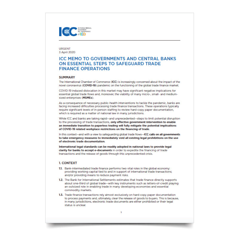 ICC Memo to Governments and Central Banks on essential steps to safeguard trade finance operations