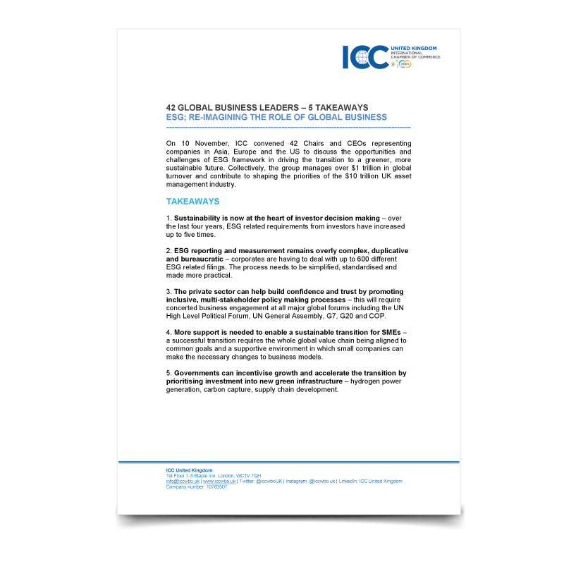 Takeaways: ICC Board Briefing on ESG 10.11.20