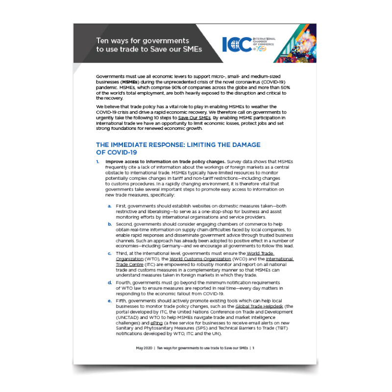 ICC - Ten ways for governments to use trade to Save our SMEs