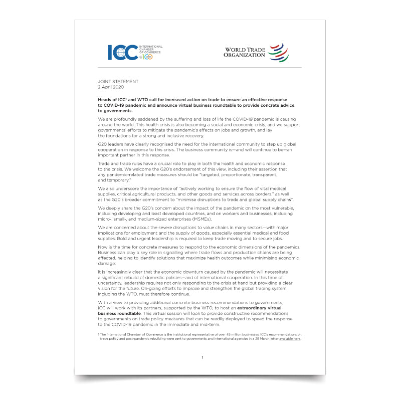 ICC -WTO Joint Statement