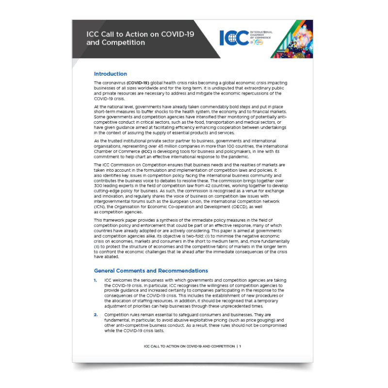 ICC Call To Action on COVID-19 and Competition
