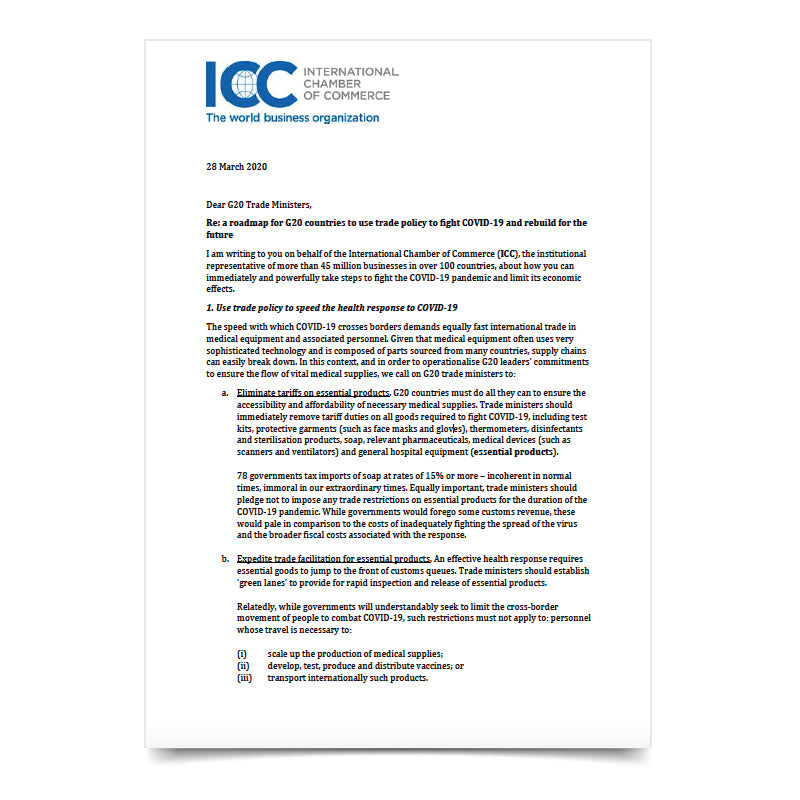 ICC-G20 Trade Ministers Letter - Trade Policy to Fight COVID-19