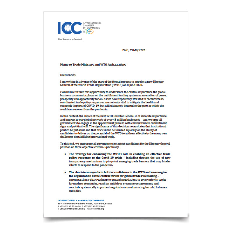ICC Trade Minister Letter