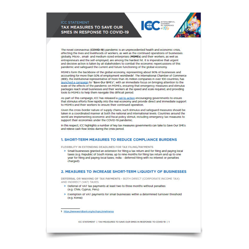 ICC Statement - Tax Measures to save our SMEs