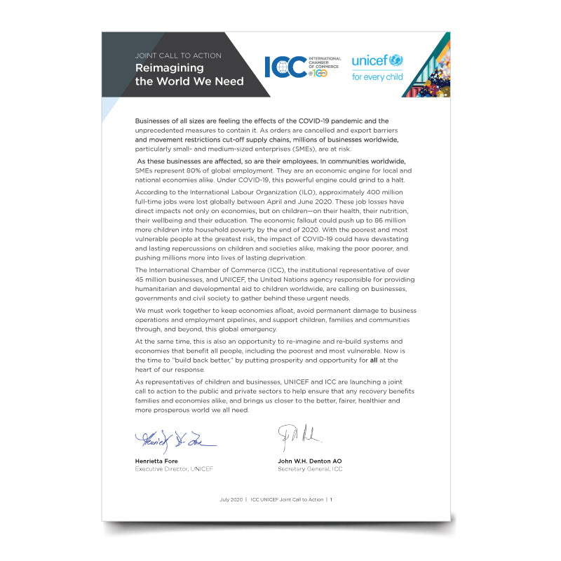 ICC UNICEF Joint Call to Action