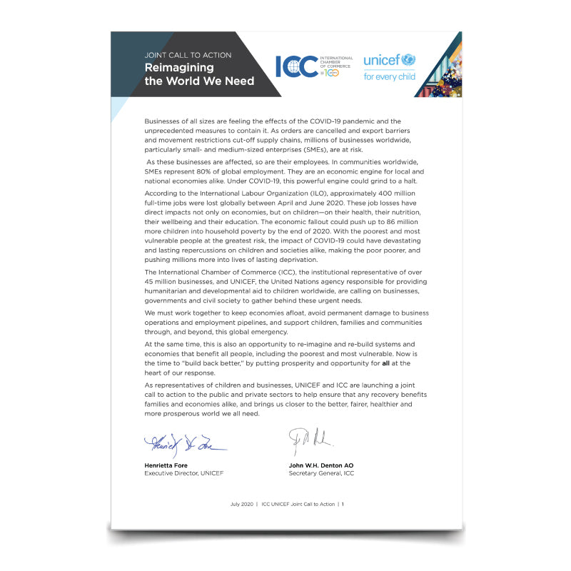 ICC - Unicef Joint Call to action