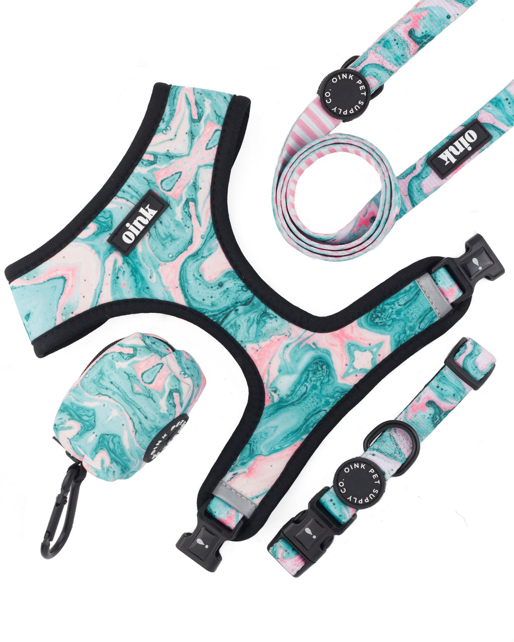 Oink Reversible Harness - Comfort Collar - Comfort Leash - Poop Bag Holder - poolside