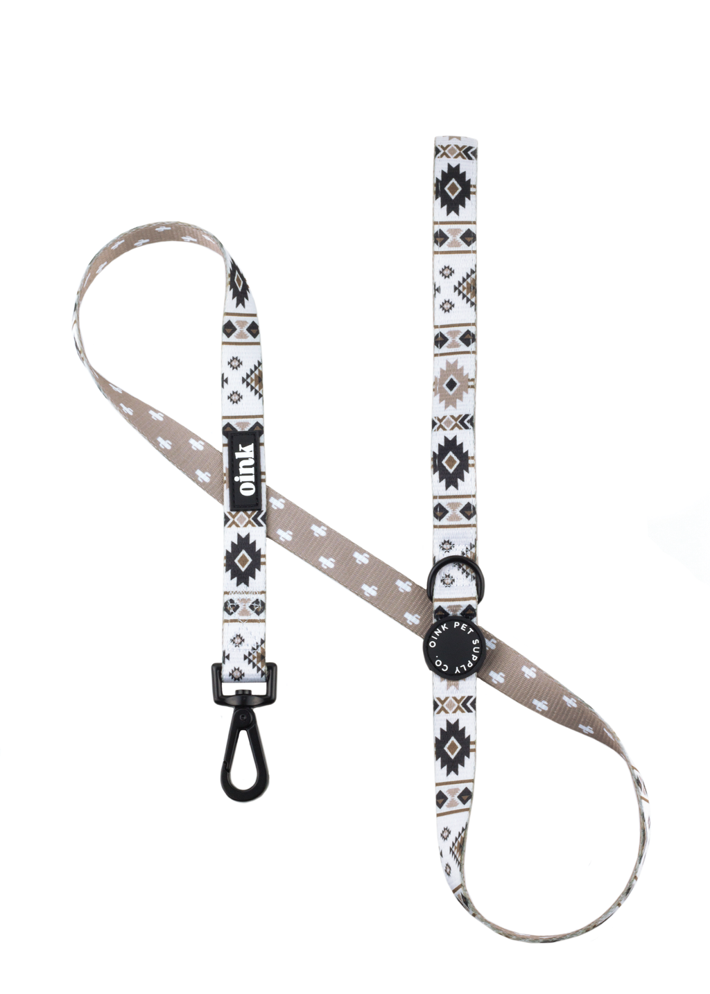Oink Dog Leash With Neoprene Handle - Cactus and Aztec Print