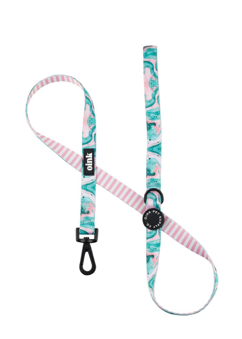 Oink Pet Supply Comfort Leash With Neoprene Handle - Pink Marble