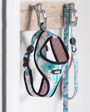 reversible dog harness - oink dog harness - poolside