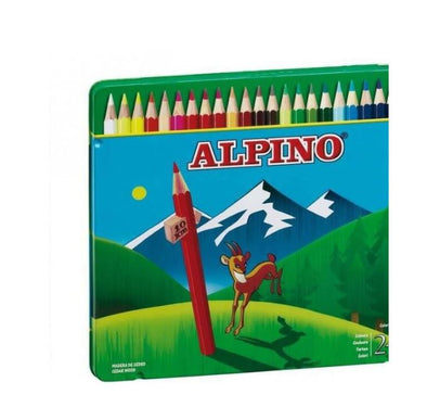 Estuche metal escolar lápices ALPINO (24 lápices)