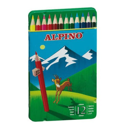Estuche metal escolar lápices ALPINO (12 lápices)