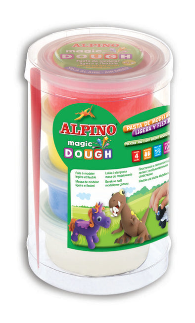 Pasta De Modelar Alpino Magic Dough 4X40 Gr Amarillo Rojo Az-ALPINO