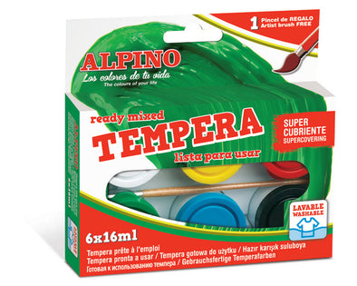 Tempera Alpino 6 x 16 ML bandeja + pincel