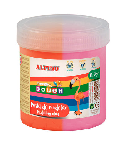 Pasta Alpino Magic Dough Bote 160Grs Rosa Y Naranja.