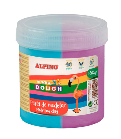 Pasta Alpino Magic Dough Bote 160Grs Cyan Y Violeta.