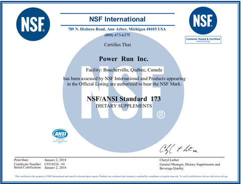 NSF Content Tested and Certified | Power Run Energy