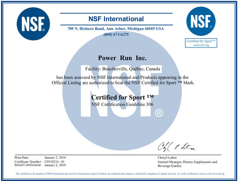 NSF for Sport Certification | Power Run Energy