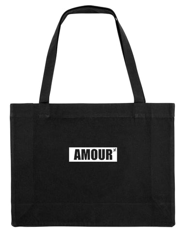 shopping bag amour noir coton bio