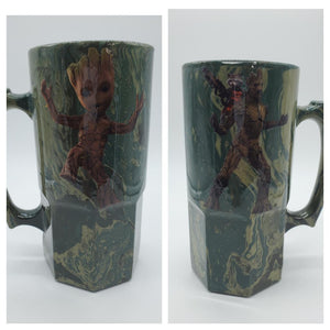 Groot and Rocket Tumblers and Nerd Stein