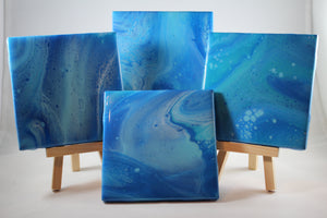 "Set of 4, 4"" x 4"" hand painted coasters - ""Calm Ocean"""
