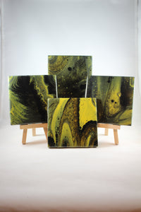 "Set of 4, 4"" x 4"" hand painted coasters - ""Yellow Tide"""