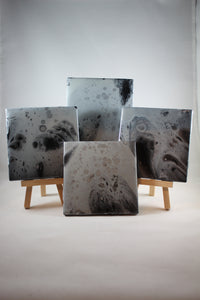 "Set of 4, 4"" x 4"" hand painted coasters - ""Shadow"""